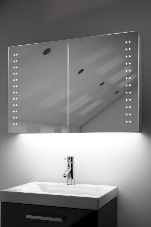 Galan demister bathroom cabinet with colour change under lighting