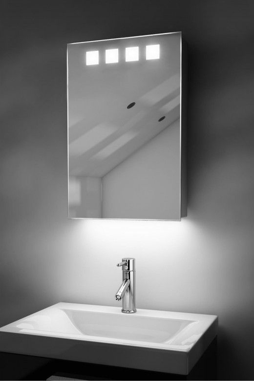 Nova demister bathroom cabinet with colour change under lighting