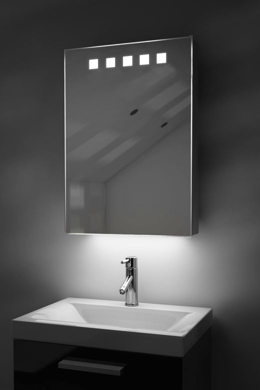 Deva demister bathroom cabinet with colour change under lighting
