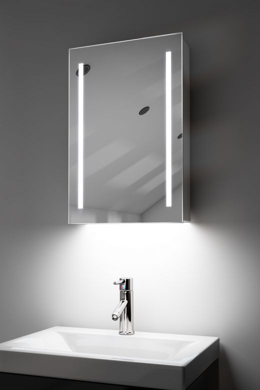 Calais demister bathroom cabinet with colour change under lighting