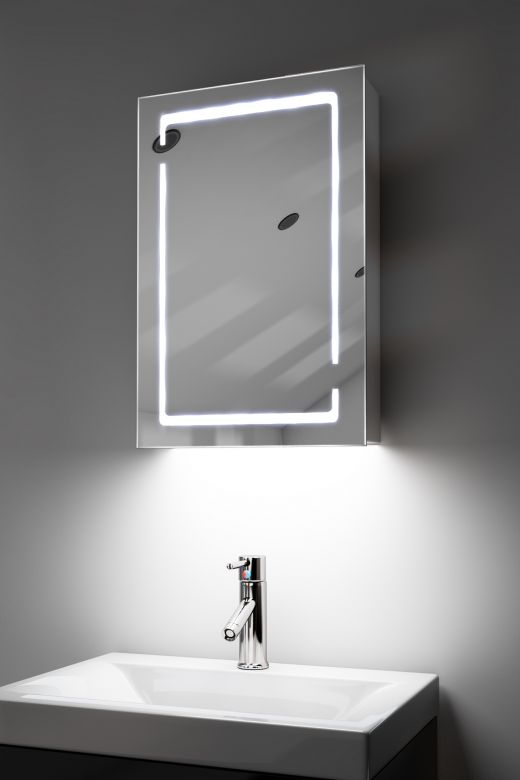 Filia demister bathroom cabinet with RGB under lights and Bluetooth