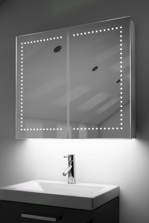 Agna demister bathroom cabinet with Bluetooth audio & ambient under lights