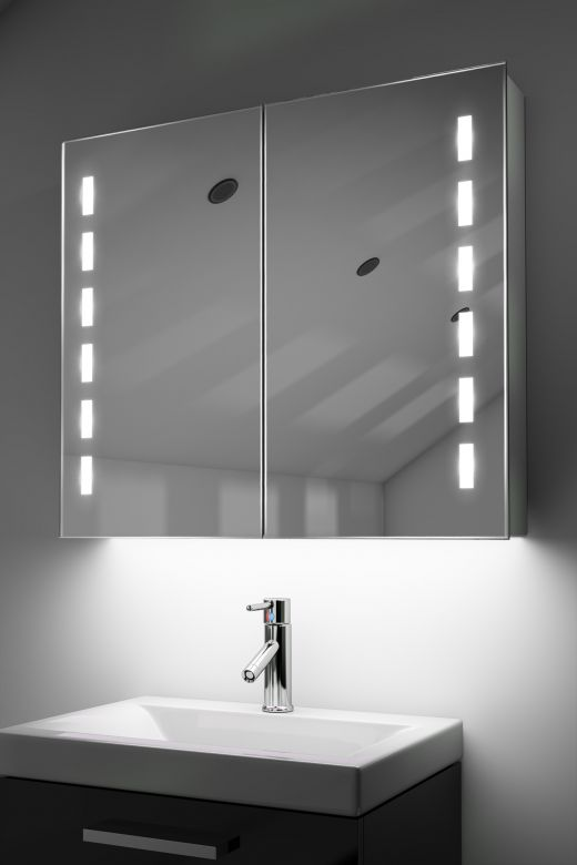 Cacia demister bathroom cabinet with Bluetooth audio & ambient under lights