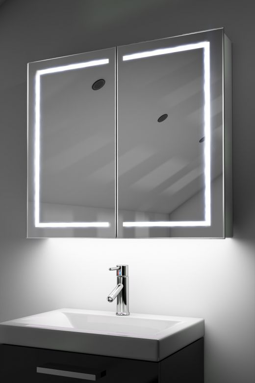 Deetra demister bathroom cabinet with ambient under lighting