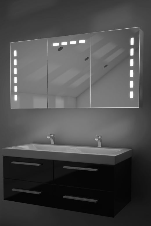 Delfine demister bathroom cabinet with Bluetooth audio