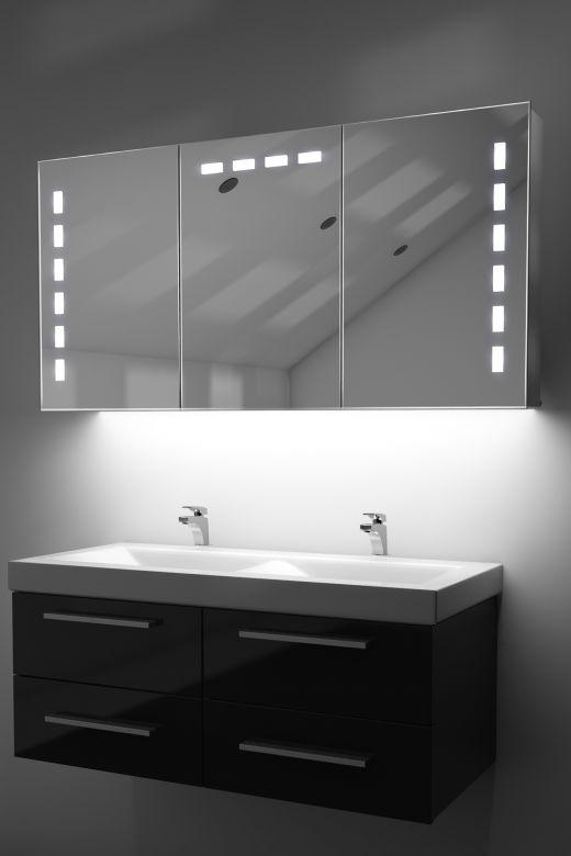 Delfine demist cabinet with colour change underlights & Bluetoothaudio
