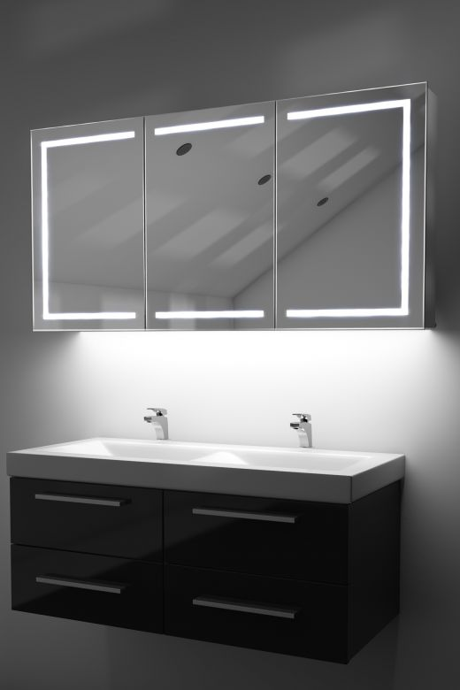 Eliza LED cabinet with colour change under lights and Bluetooth audio