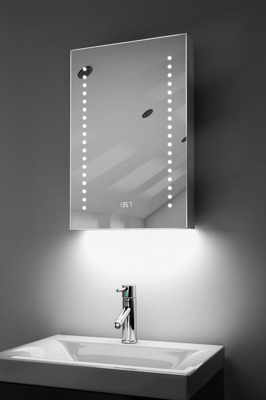 Achilles clock LED bathroom cabinet with colour change under lighting