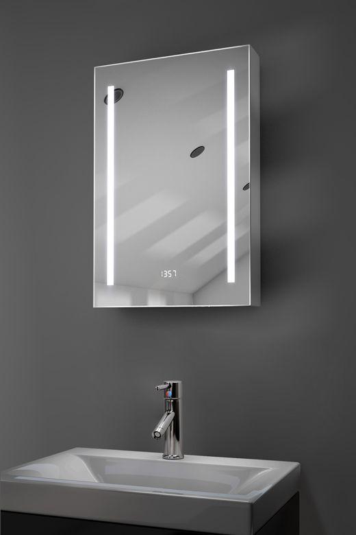 Calais digital clock demister bathroom cabinet
