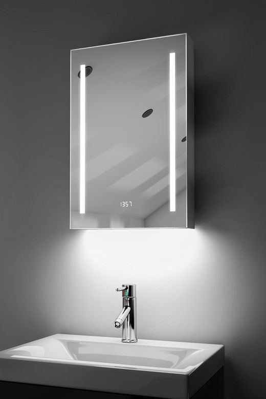 Calais digital clock LED bathroom cabinet with ambient under lighting