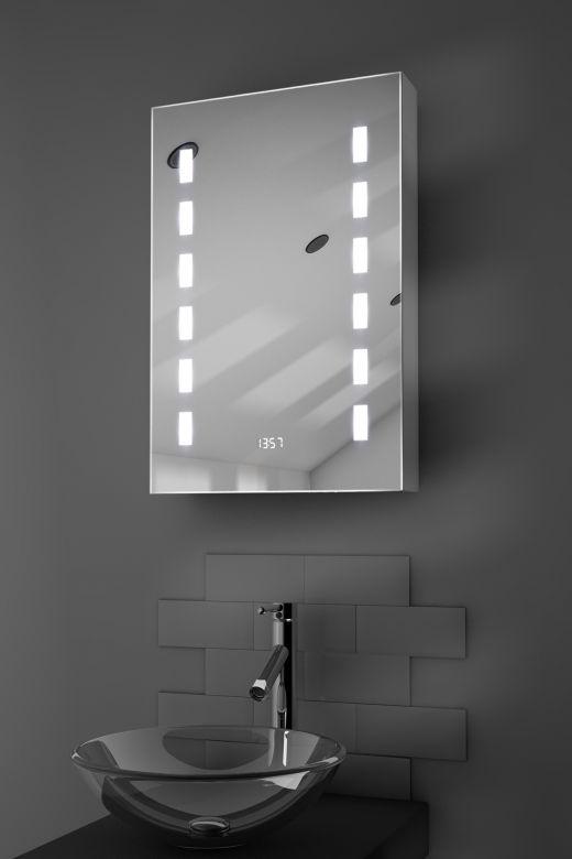 Delphia digital clock demister bathroom cabinet with Bluetooth audio