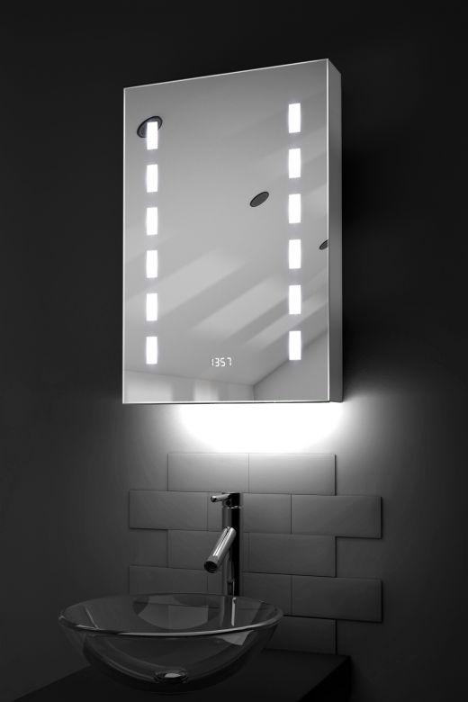 Delphia digital clock LED bathroom cabinet with ambient under lighting