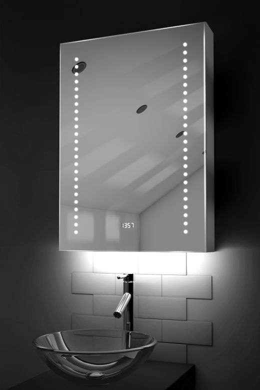 Ghita clock LED bathroom cabinet with colour change under lighting