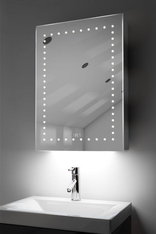 Lana clock LED bathroom cabinet with colour change under lighting