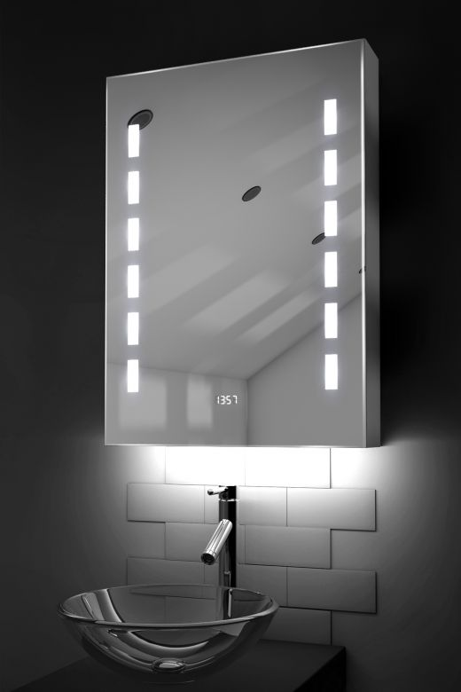 Kara clock LED bathroom cabinet with colour change under lighting