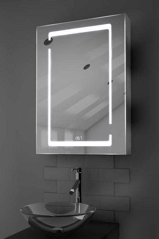 Marilis digital clock LED bathroom cabinet with Bluetooth audio