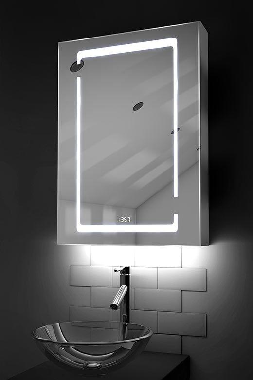 Marilis digital clock LED bathroom cabinet with ambient under lighting