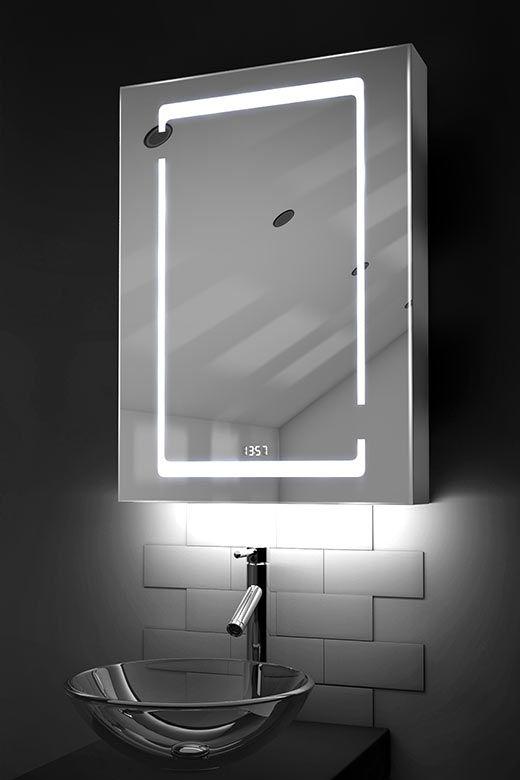Marilis digital clock LED bathroom cabinet with Bluetooth audio & ambient under lights