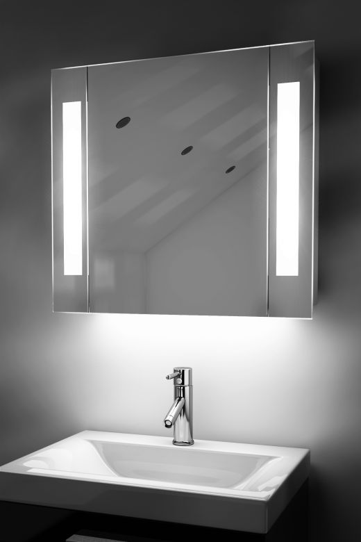 Gracious demister bathroom cabinet with colour change under lighting