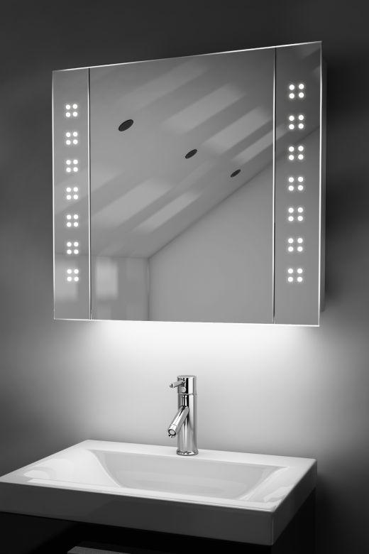 Amaze demister bathroom cabinet with colour change under lighting