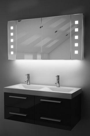 Vishnu demister bathroom cabinet with colour change under lighting