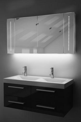 Pali demister bathroom cabinet with ambient under lighting
