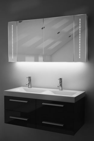 Pali demister bathroom cabinet with Bluetooth audio & ambient under lights