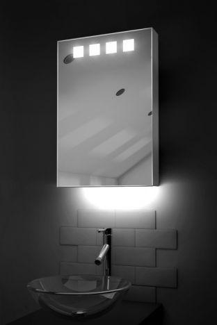 Nova demister bathroom cabinet with ambient under lighting
