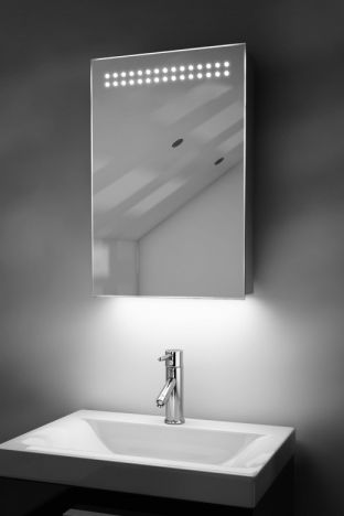 Jewel demister bathroom cabinet with colour change under lighting