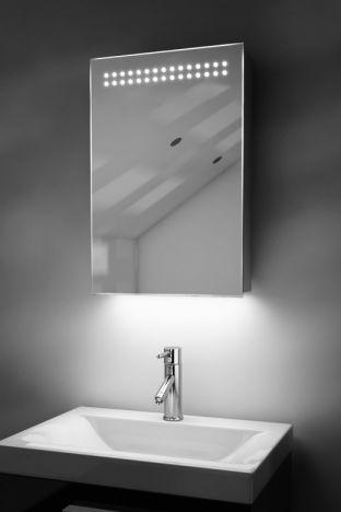 Jewel demister bathroom cabinet with RGB under light & Bluetooth audio