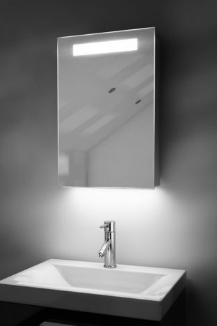 Olympia demister bathroom cabinet with colour change under lighting