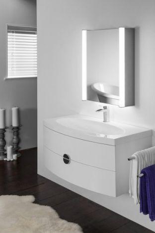 Aura 309 LED bathroom cabinet with RGB under light and Bluetooth audio