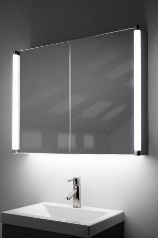 Dabir demister bathroom cabinet with ambient under lighting