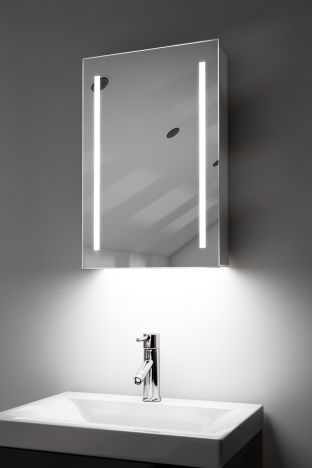 Calais demister bathroom cabinet with ambient under lighting