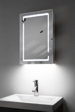 Filia demister bathroom cabinet with colour change under lighting
