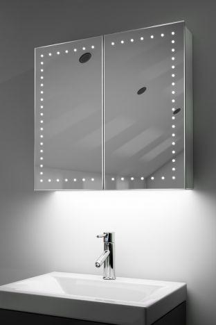 Panos demister bathroom cabinet with colour change under lighting