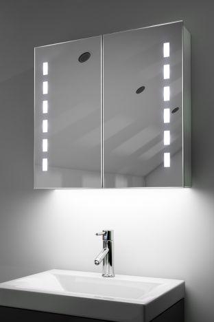 Sacha demister bathroom cabinet with colour change under lighting
