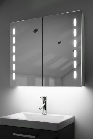Cacia demister bathroom cabinet with colour change under lighting