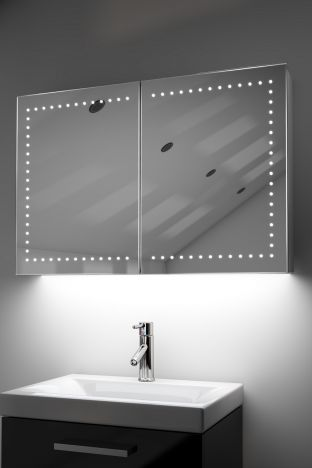 Hestia demister bathroom cabinet with Bluetooth audio & ambient under lights