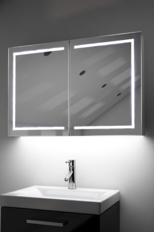 Lea demister bathroom cabinet with Bluetooth audio & ambient under lights