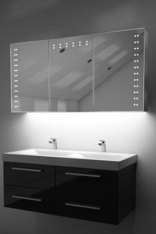 Aletha demister bathroom cabinet with colour change under lighting