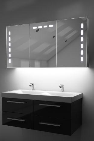 Delfine demister bathroom cabinet with colour change under lighting