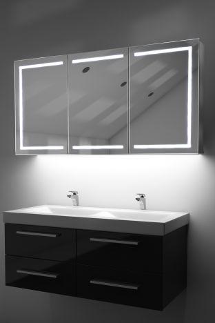 Eliza demister bathroom cabinet with colour change under lighting