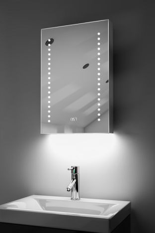 Achilles clock LED bathroom cabinet with colour change under lighting