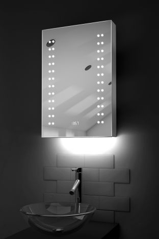 Balta digital clock LED bathroom cabinet with ambient under lighting