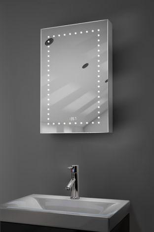 Elora digital clock demister bathroom cabinet with Bluetooth audio