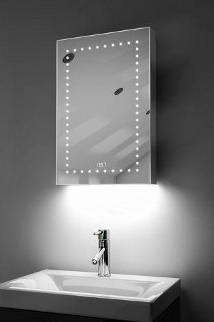 Elora digital clock LED bathroom cabinet with ambient under lighting