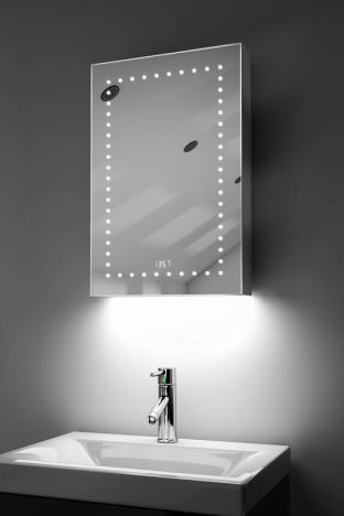 Elora clock LED bathroom cabinet with colour change under lighting