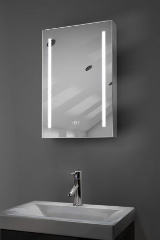 Calais digital clock demister bathroom cabinet with Bluetooth audio
