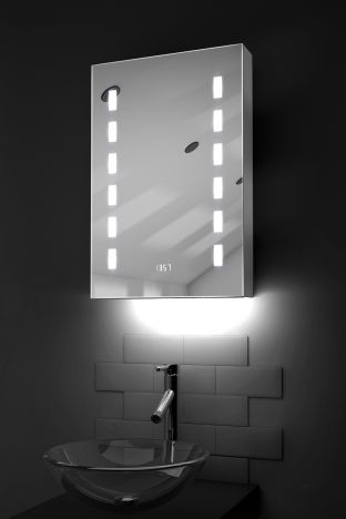 Delphia clock LED bathroom cabinet with colour change under lighting